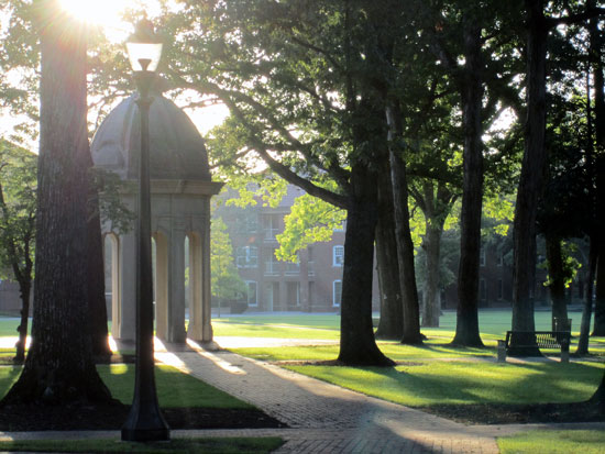 ECU's campus green at dawn